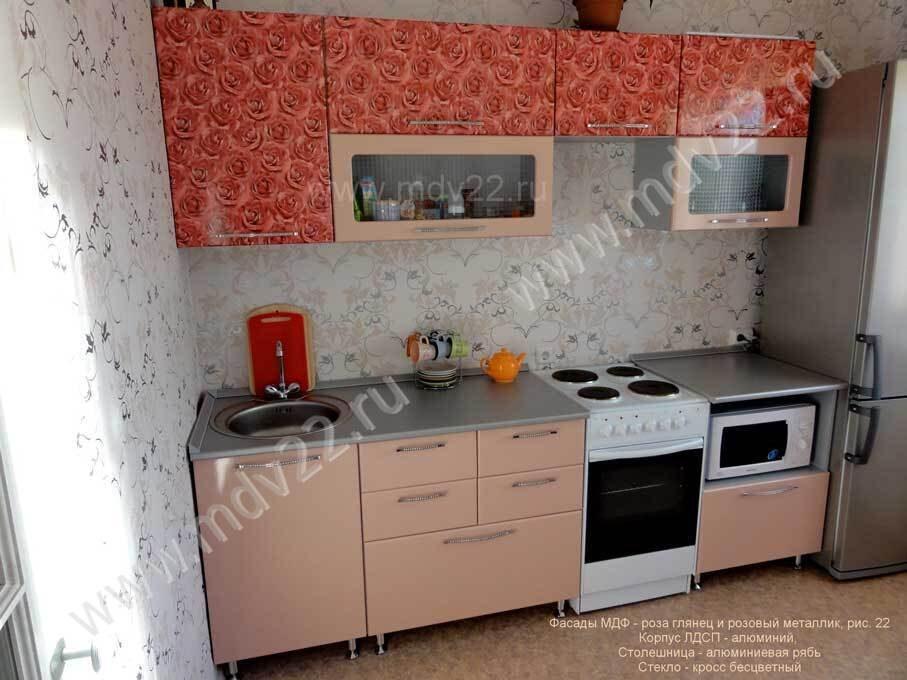Кухня прямая бежевый глянец мебельные
