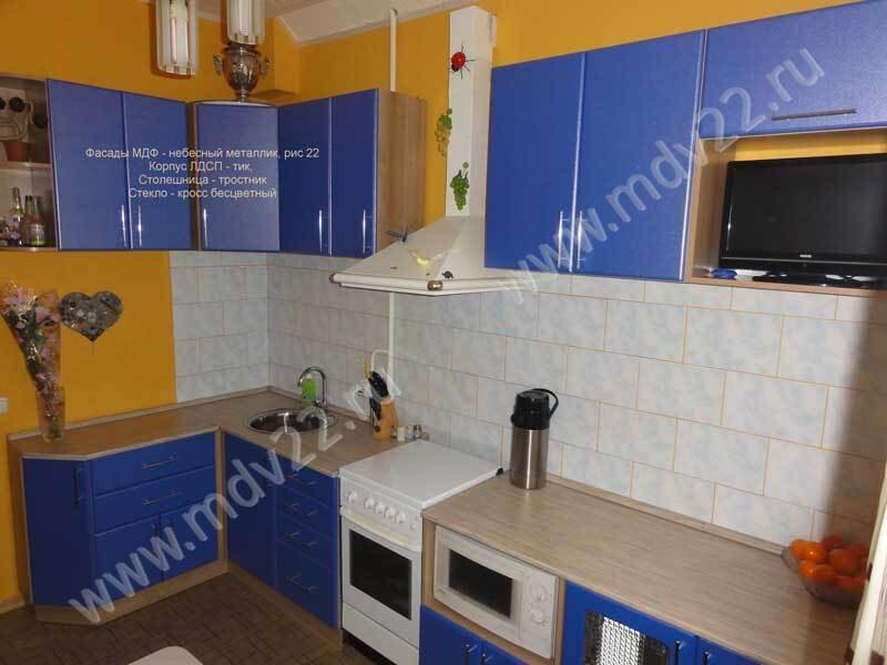 цвет гарнитура под синюю кухню фото