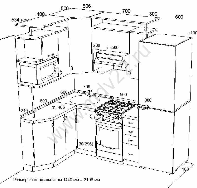 Кухонный гарнитур угловой шкаф 194