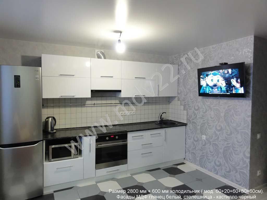 кухня прямая глянцевая фото