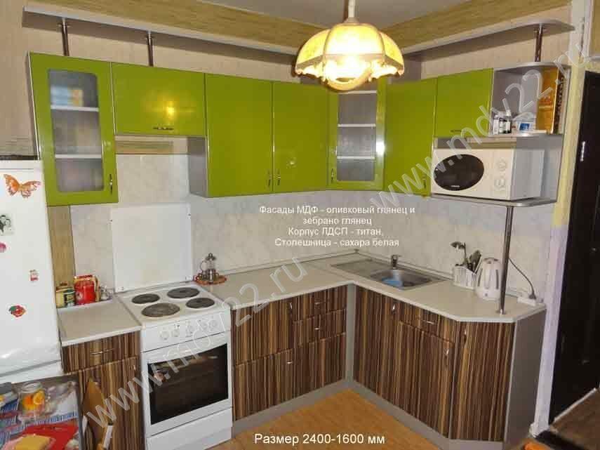 Кухня с фасадами мдф зебрано глянец и