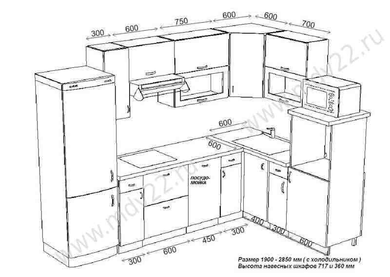 Схема пенала кухонного .