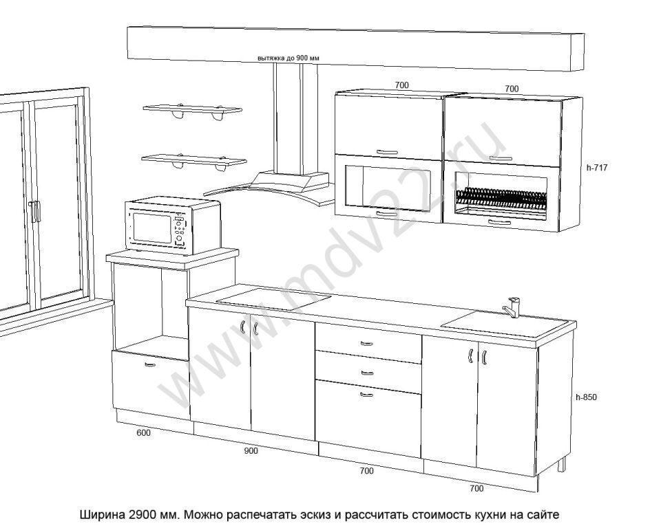 Дизайн кухни 3100 на 2900