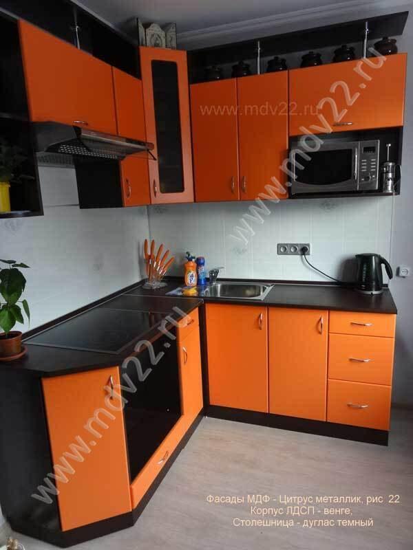 кухни цвет оранжевый-венге фото