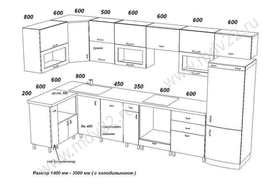 8 эскиз кухни для квартиры 330 серии размер 1400 мм 2900 мм